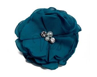 "Teal : 3"" Chiffon Pearl Rhinestone x 1 | Craft Flower for Headband DIY Kits | Girls Accessories Baby Showers"