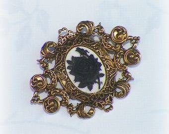 Victorian Gothic Rose Brooch Pin Cameo Black Vintage Style Steampunk Antique Gold Style
