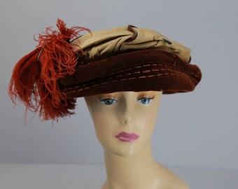 Antique Edwardian 1910 Feather Toque hat