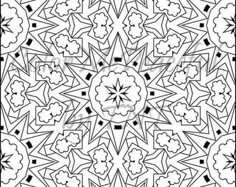 Kaleidoscope Adult Coloring Page - Calm Kaleidoscopes, Volume 1, Page 12 | Printable Instant Download