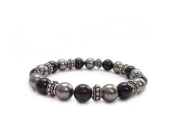 Black & Gray Pearl Bracelet -  Swarovski Pearls - Sterling Silver Bali Beads - Elastic Stacking Layering Bracelet