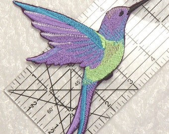 "Stunning Large HUMMINGBIRD in FLIGHT Embroidered Iron on Patch - applique - 5.75"" x 4.25"""