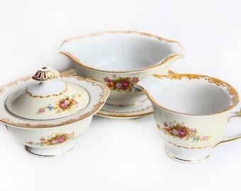 Vintage Aladdin Fine China Set ~ Gravy Boat, Sugar Bowl & Creamer ~ Coronet ~ Made in Japan ~ Floral Bouquet