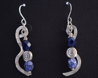 Hammered Silver Earrings with glass beads, Handmade Fine Silver Earrings