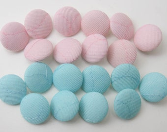 Vintage buttons nylon fabric covered pink & Blue/turquoise 20