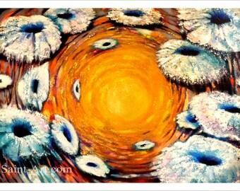 Sunflowers, Landscape, Floral Art, contemporary wall art, Flowers White Gold, landscape wall art, Abstract landscape Spiral Colorful nature