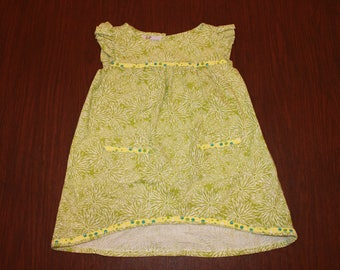 Girls Handmade Yellow Green Dress with Front Pockets and Ruffle Sleeves