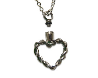 Heart Cremation Necklace Heart Ashes Necklace Silver Heart Roped Heart Urn Necklace Cremation Jewelry Cremation Key Chain 2106