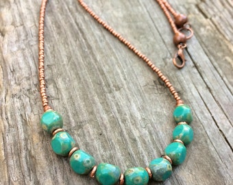 Turquoise Necklace, Turquoise Beaded Necklace, Copper Jewelry Necklace, Southwestern Jewelry, Copper Beaded Necklace