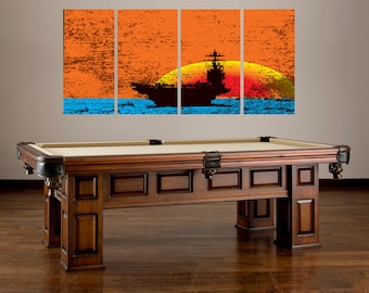 Navy Ship Sun Set Wall Art