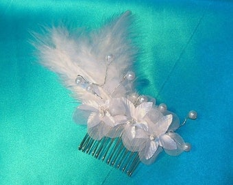 On Sale Bridal Hair Comb Accessory With White Satin and Organza Flowers, Pearl Sprays and White Maribou Feathers