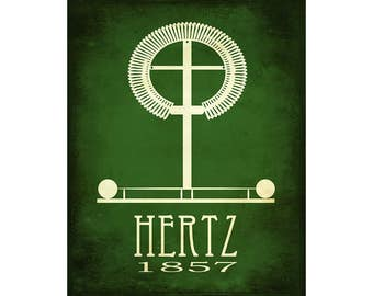 Science Art 8x10 Poster - Hertz Rock Star Scientist Poster, Steampunk History School Decor, Classroom Artwork, Physics and Engineering Gift