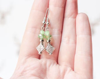 Pastel Green Earrings, Mother's Day Gifts, Milky Light Green Glass Crystal Earrings, Spring Green Silver Cross Jewelry, Gifts for Mom Her