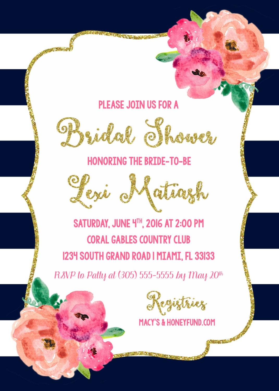 Super Navy and Pink Floral Bridal Shower Invitation, Navy Blue Stripe  QG45