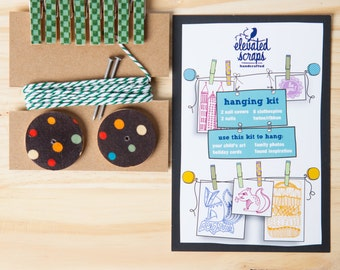 Art Hanging Kit ~ Mini Clothespins ~ Baker's twine ~ Greens and Browns