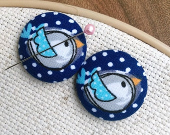 Needle Minder Polka Dot Bird  2 Piece Reversible Scout and Remy, Cross Stitch, Embroidery, Sewing, Accessory, Tool, Gift