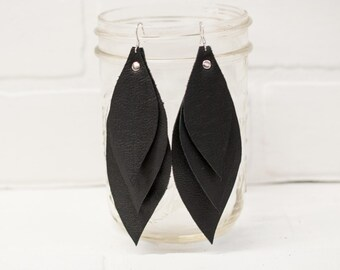 "4 1/2"", recycled, leather feather earrings, leaf earrings, boho earrings, dangle earrings, black earrings, tassel earrings, stacylynnc"