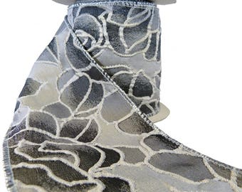 """Large Roses Shades Of Gray Wired Ribbon  4"""" Wide"""