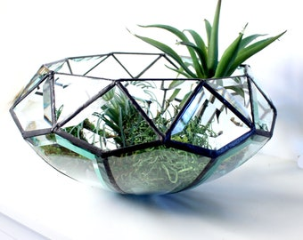 Geometric Clear Beveled Glass Bowl/ Terrarium - Handmade Stained Glass - Home Decor - Home Accents