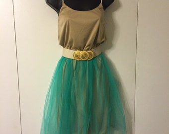 Women's  spring studded strap dress taupe/turquoise