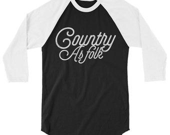 Country As Folk 3/4 sleeve raglan shirt