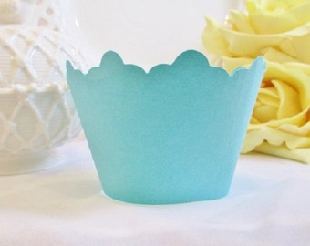 12 Breakfast at Tiffanys Cupcake Wrappers - Bridal Shower - Aqua Cupcake Liners - Wedding Cupcake Holders - Quinceanera Party - Baby Shower