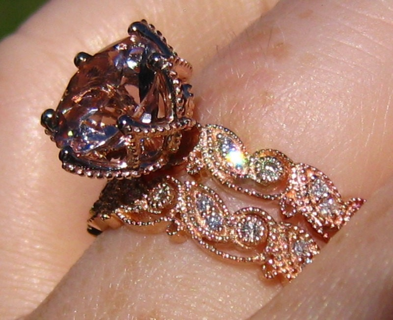 Ivy Wedding Set Morganite Engagement Ring and Wedding Band