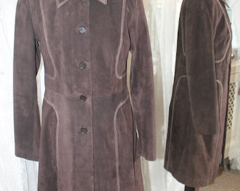 Brown suede long jacket - Size 10
