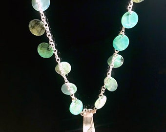 Gorgeous Necklace featuring Queen Bess Pattern Antique Silverware and Turquoise Faux Mother of Pearl