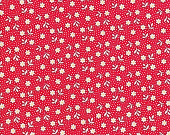 Red Floral Fabric - Red Fabric - Toy Chest 3 - Polka Dot Fabric - Penny Rose