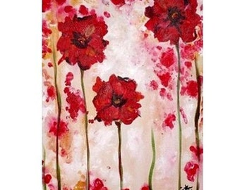 Abstract Red Poppies Commission by Kristen Dougherty