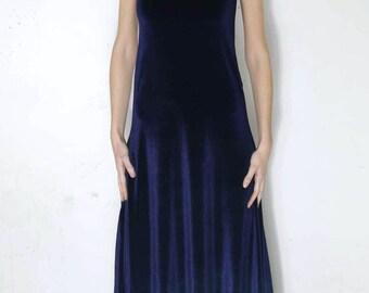 Velvet long dress - Blue velvet dress - Witch dress - Goth velvet knit dress - Nugoth dress - Vampire - Romantic - Pagan - Medieval