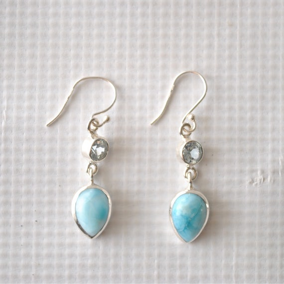 Sterling Silver Larimar Topaz Teardrop Earrings #9033