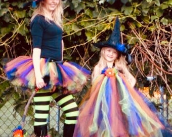 Inspired Girls Hocus Pocus Witch TUTU with witch hat Sizes Newborn, 3-6 m 6-12 m 12-24 m 2T 3T 4T 5 6 7 8