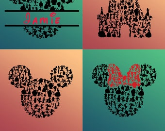 643 DISNEY Svg Disney Cut Files Svg Disney Bundle Mickey & Minnie Mouse Ears Disney font, Clip Art for Cricut, Silhouette