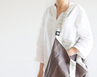 Linen tote bag, reusable linen bag, linen tote bag, linen beach bag, linen bag with a pocket, linen shopping bag