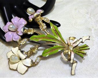 Vintage Enamel Rhinestone Flower Bouquet Brooch