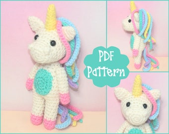 PDF - Mini Unicorn Crochet Pattern, Unicorn Amigurumi, Amigurumi Pattern, Unicorn Plush, Unicorn Plushie, Unicorn Toy, Crochet Toy,