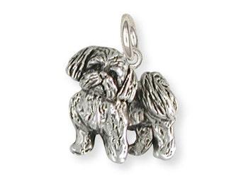 Silver Lhasa Apso Charm Jewelry  LSZ21-C