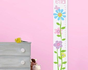 Personalized Butterflies and Blooms Height Chart