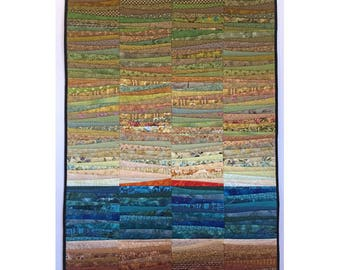"Art quilt. Quilted wall hanging. Landscape. Abstract textile art. Color on  the mountain. 32x48"" OOAK. Modern art quilt. Contemporary fiber."