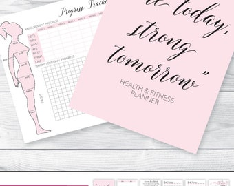 A5 FITNESS PLANNER Fitness Journal Health and Fitness Planner Workout Log Workout Planner Planner Inserts Printable Measurement Chart