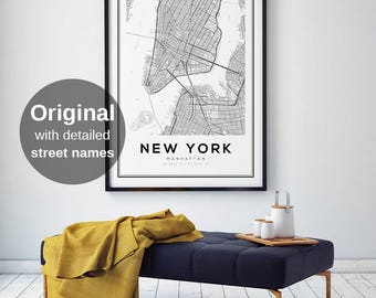 New York Map Print, Manhattan, NYC Map, Manhattan Map Poster, NYC, NY Map, United States Map Print, New York City, Black and White Map