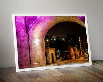 London South Bank by Night with Moon. City Skyline Wall Art Large Oversized Photo - for Living Room or Office