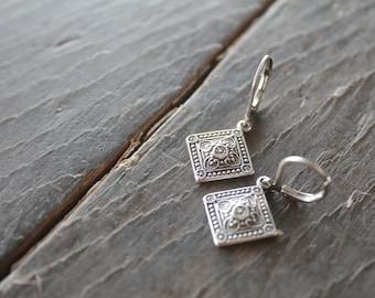 Szolnok Hungarian Diamond Medallion Earrings in Antique Silver