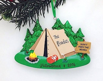 Camping Tent Personalized Christmas Ornament / Camping ornament / Travel Ornament / Personalized Family Ornament
