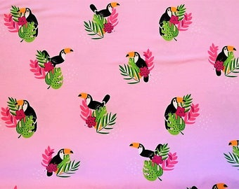 """Toucan"" on pink printed cotton jersey fabric"