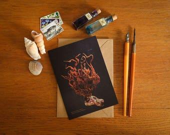 Polysiphonia Stricta Seaweed Card - A6 greeting card - beautiful coastal art card