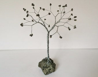 Pyrite gemstone tree. Grey Gold wire tree sculpture. Fool's Gold Tree ornament gemtree sculpture. Natural sculpture Desk decor. T85