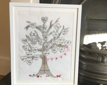Family tree -tweed - personalised embroidered gift 12x16 inches mounted and framed